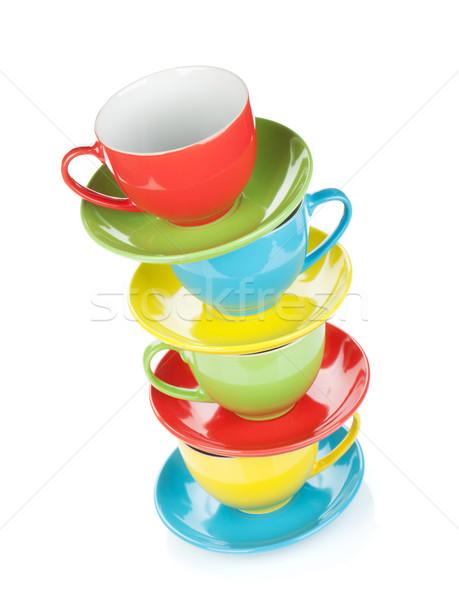 Stockfoto: Ingesteld · kleurrijk · geïsoleerd · witte · koffie