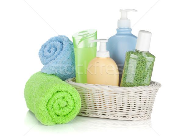 Stockfoto: Cosmetica · flessen · handdoeken · geïsoleerd · witte · lichaam