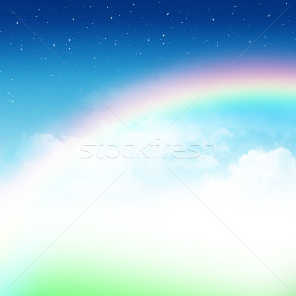 Foto d'archivio: Natura · abstract · nuvoloso · cielo · blu · Rainbow · stelle
