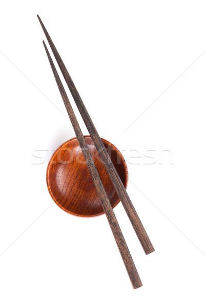 Sushi Çin yemek çubukları soya sosu çanak yalıtılmış beyaz Stok fotoğraf © karandaev