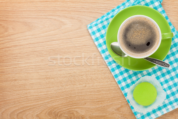 Cup of coffee and fresh macaroon Stock photo © karandaev