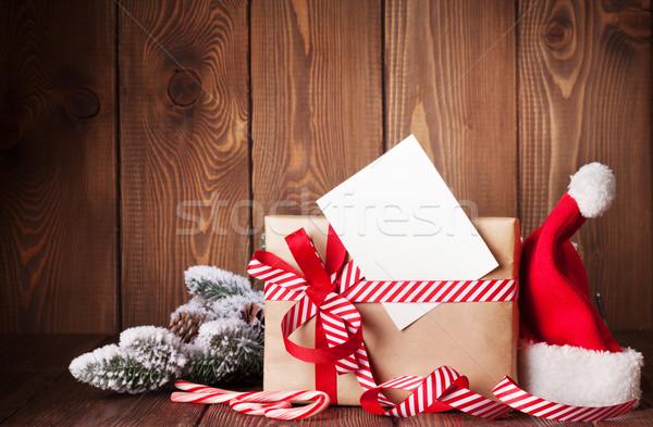 Stock foto: Weihnachten · Geschenkbox · hat · Holztisch · Natur