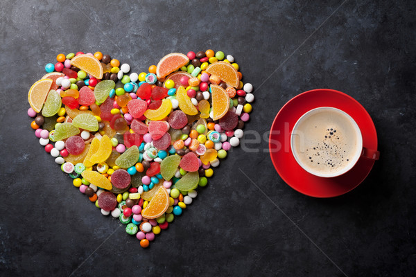 Candies, jelly and marmalade heart and coffee Stock photo © karandaev