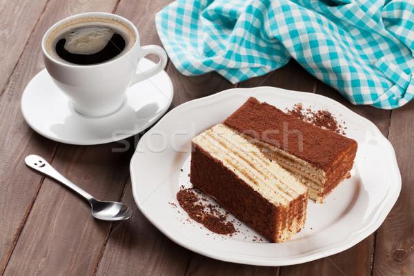 Tiramisu desszert kávé fa asztal tányér reggeli Stock fotó © karandaev