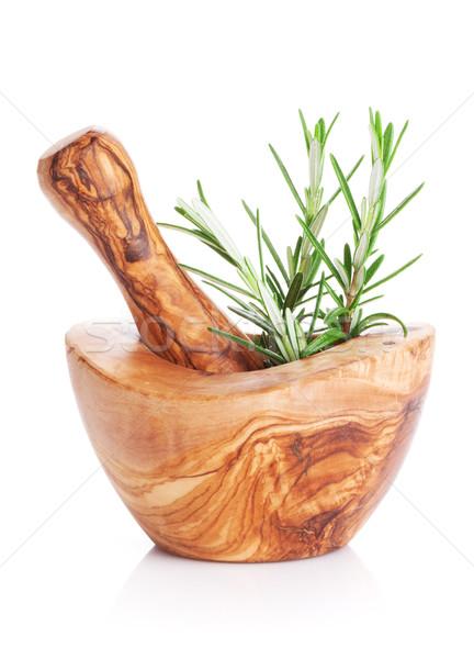 Garden rosemary herb in mortar Stock photo © karandaev