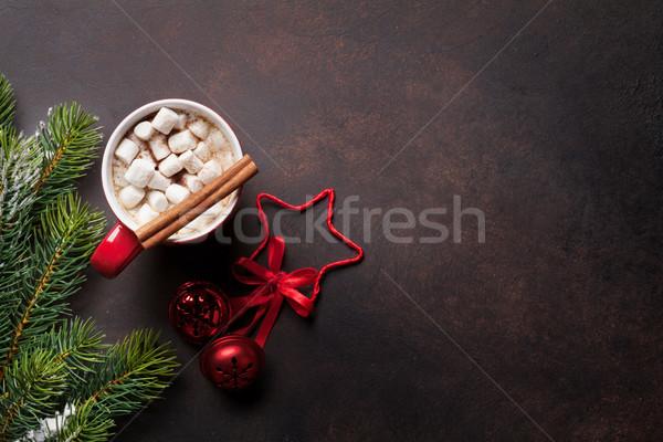 Karácsony forró csokoládé fenyőfa mályvacukor felső kilátás Stock fotó © karandaev