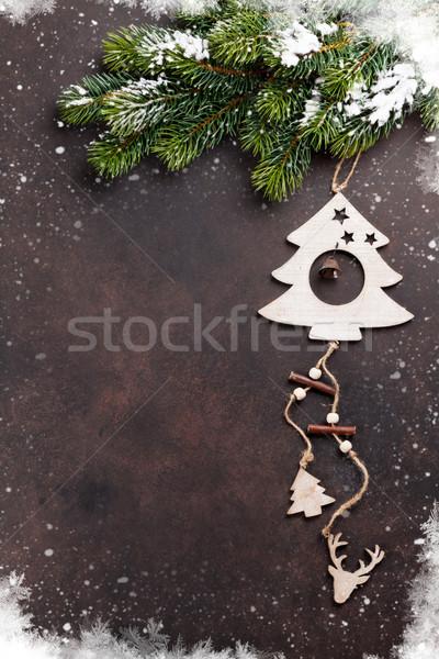 Photo stock: Noël · neige · pierre · bois
