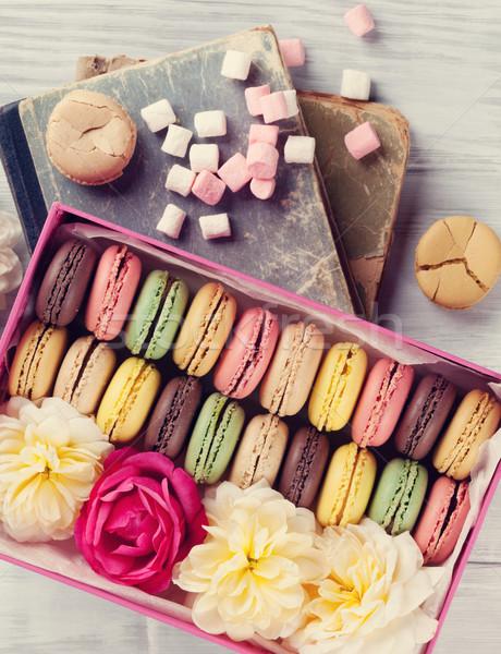 красочный Sweet macarons деревянный стол шкатулке Top Сток-фото © karandaev