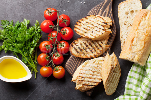 Foto stock: Sanduíche · cozinhar · ingredientes · pedra · topo · ver
