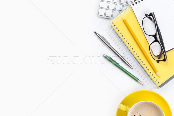 Stock fotó: Irodai · asztal · fehér · kávé · számítógép · készlet · felső