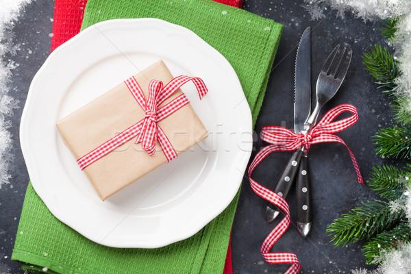 Noël coffret cadeau dîner plaque argenterie Photo stock © karandaev
