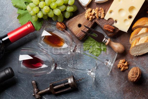 Foto stock: Vinho · uva · nozes · queijo · pão · topo