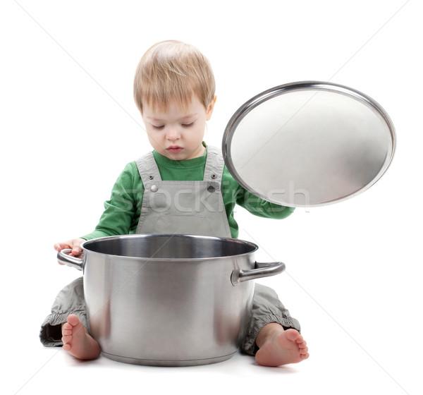 ребенка глядя внутри кастрюля изолированный белый Сток-фото © karandaev