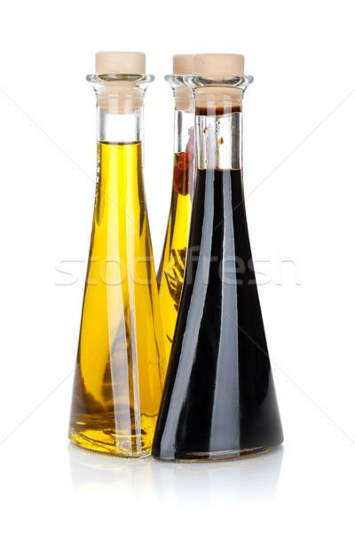 Aceite de oliva vinagre botellas aislado blanco frutas Foto stock © karandaev