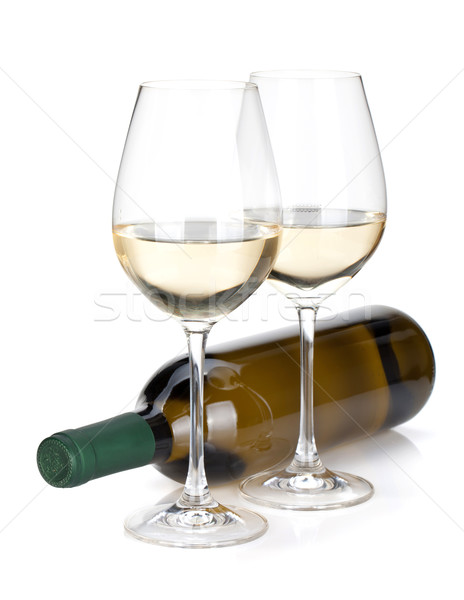 White wine bottle and two glasses Stock photo © karandaev