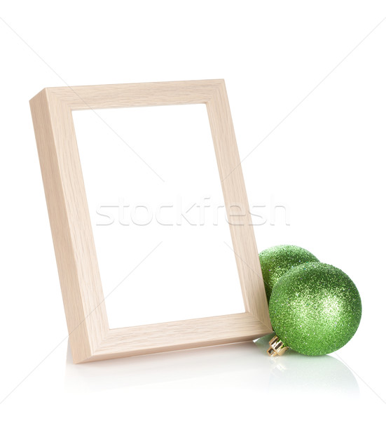Photo frame and christmas baubles Stock photo © karandaev