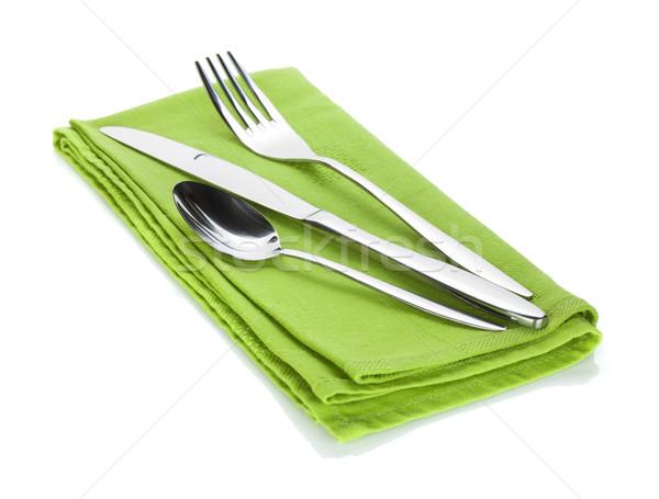 Silverware or flatware set of fork, spoon and knife on towel Stock photo © karandaev