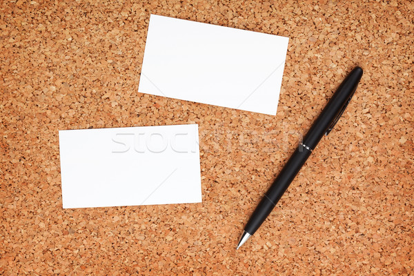Two business cards and pen Stock photo © karandaev