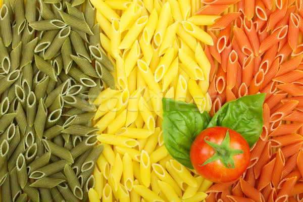 Pâtes drapeau italien tomate basilic texture cuisine Photo stock © karandaev