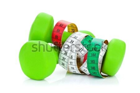 Twee groene meetlint fitness gezondheid geïsoleerd Stockfoto © karandaev