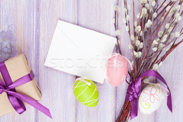 Stock photo: Greeting card, pussy willow and easter eggs