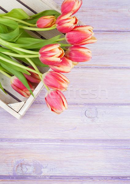 Orange tulipes table en bois haut vue espace de copie Photo stock © karandaev