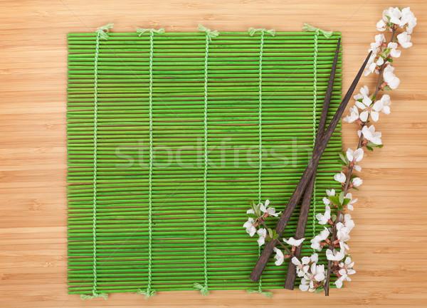 Bacchette sakura ramo bambù copia spazio fiore Foto d'archivio © karandaev