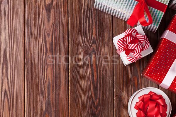 Stock fotó: Karácsony · ajándékdobozok · fa · asztal · felső · kilátás · copy · space