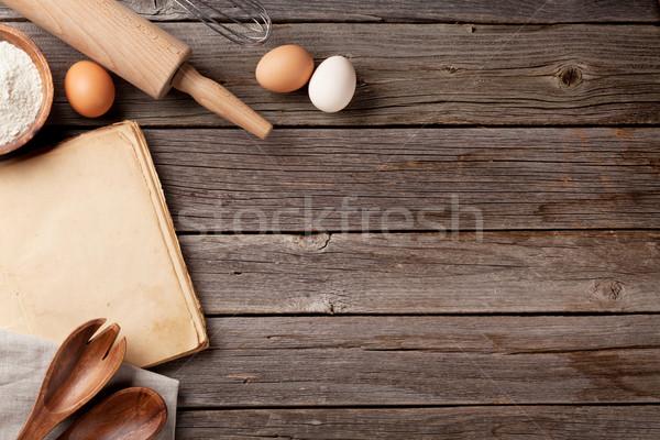 Konyhaasztal recept könyv kellékek klasszikus főzés Stock fotó © karandaev