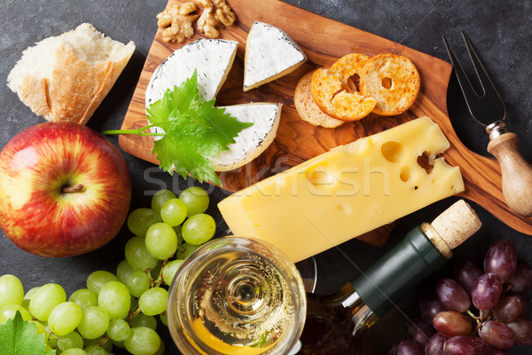 Vin raisins fromages vin blanc pain pierre Photo stock © karandaev