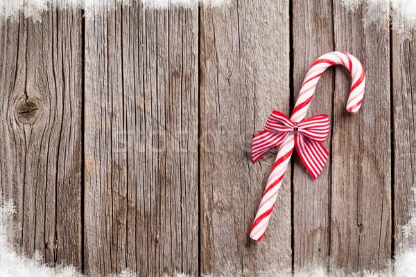 Рождества конфеты тростник деревянный стол Top мнение Сток-фото © karandaev