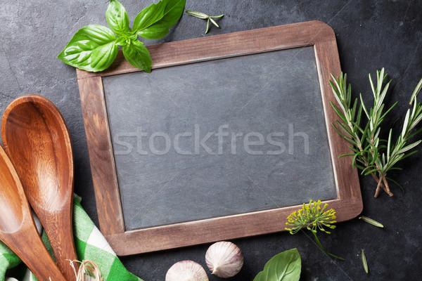 ストックフォト: 黒板 · 文字 · 庭園 · ハーブ · 新鮮な · スパイス