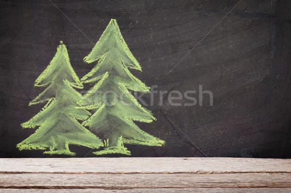 Karácsony kézzel rajzolt karácsony fenyőfa kréta tábla Stock fotó © karandaev