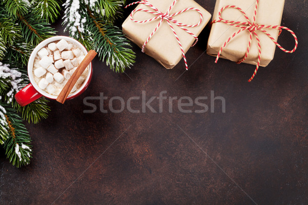 Foto stock: Navidad · chocolate · caliente · cajas · de · regalo · malvavisco · superior