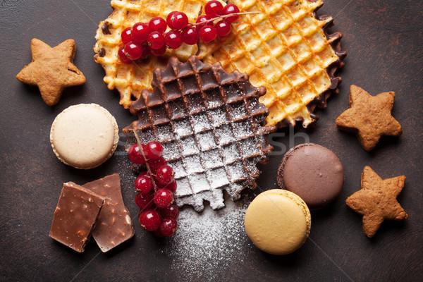 Pedra tabela topo ver comida Foto stock © karandaev