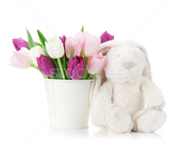 Colorful tulips and rabbit. Easter card Stock photo © karandaev