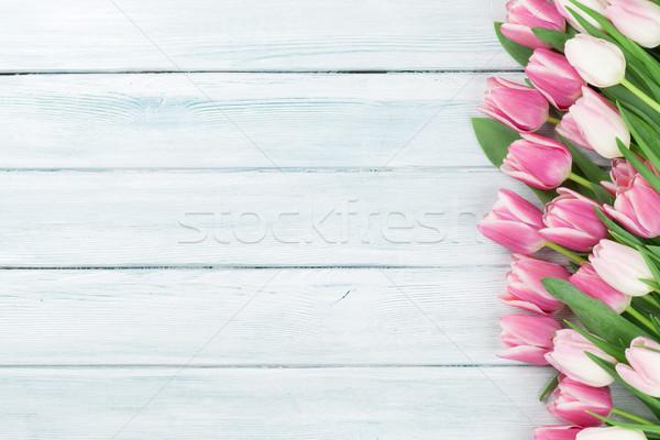 Easter background with pink tulips Stock photo © karandaev