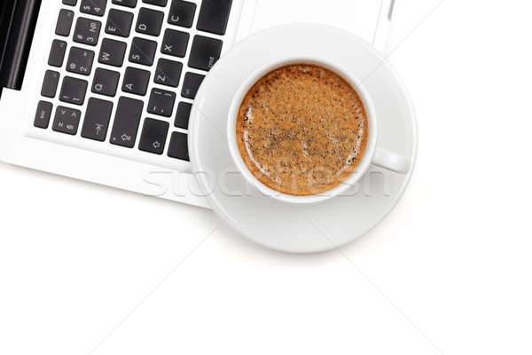 Cappuccino cup on laptop. Above view Stock photo © karandaev