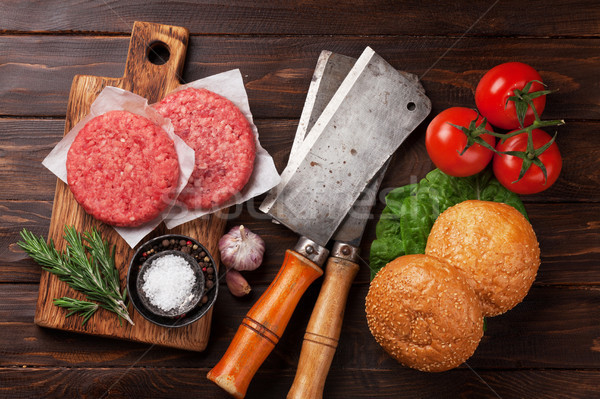 Tasty grilled home made burgers cooking Stock photo © karandaev