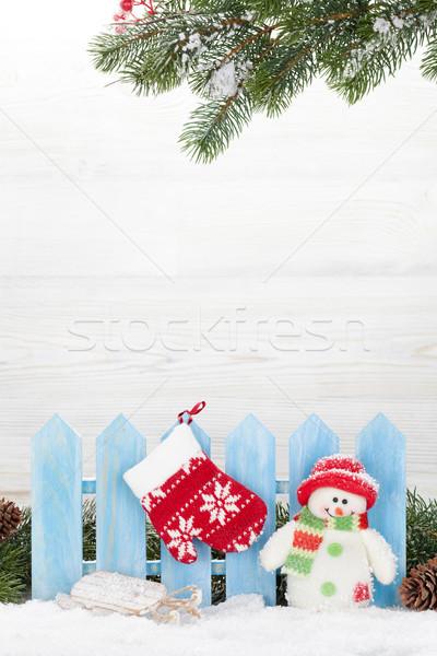 Natale pupazzo di neve slitta giocattoli ramo Foto d'archivio © karandaev
