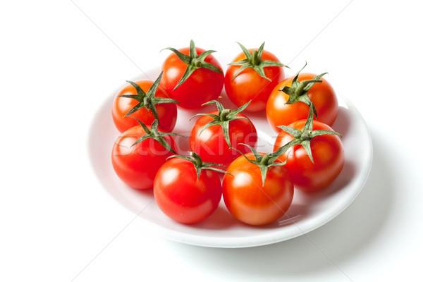 Taze kiraz domates plaka yalıtılmış beyaz domates Stok fotoğraf © karandaev