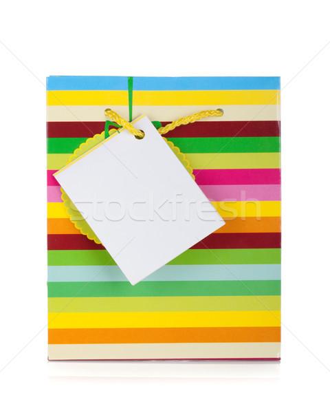 Zdjęcia stock: Kolorowy · dar · worek · odizolowany · biały · papieru