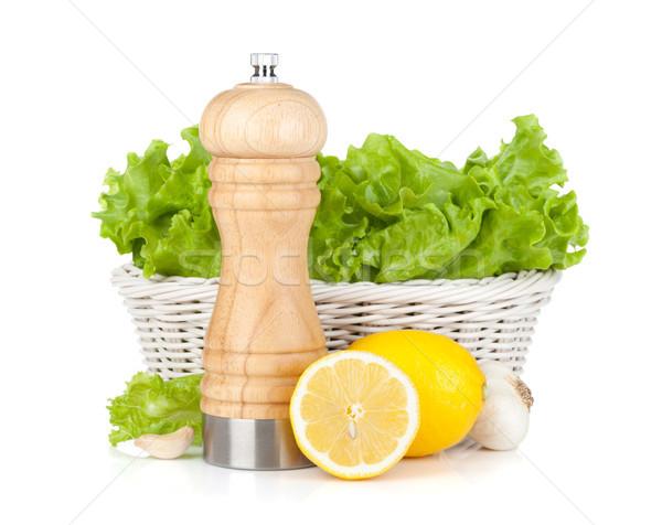 Saláta kosár citromok bors shaker citrom Stock fotó © karandaev