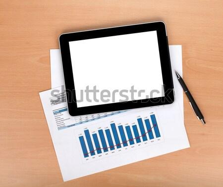 ストックフォト: タブレット · 画面 · 論文 · 番号 · チャート
