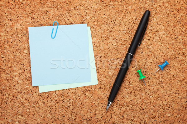 Blank postit notes on cork notice board Stock photo © karandaev