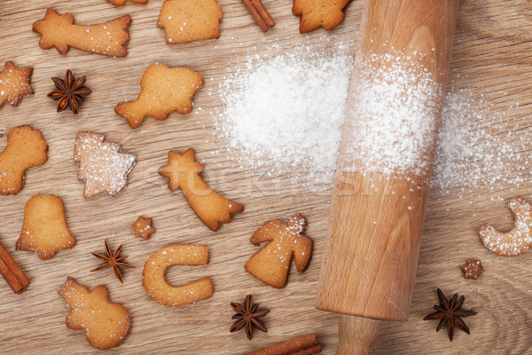Rolling pin and gingerbread cookies Stock photo © karandaev