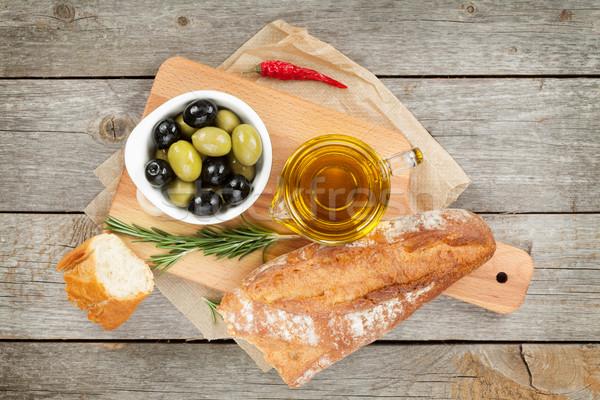 итальянской кухни закуска оливками хлеб оливкового масла специи Сток-фото © karandaev