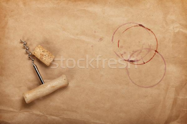 Cork tire-bouchon vin rouge papier brun espace de copie Photo stock © karandaev