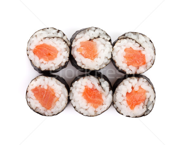 суши маки лосося изолированный белый продовольствие Сток-фото © karandaev