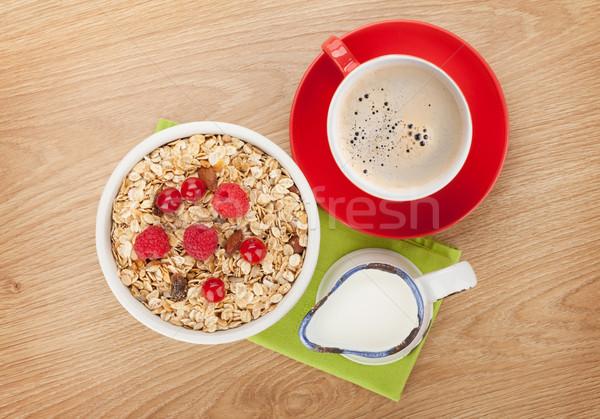 健康 朝食 ミューズリー 木製のテーブル コーヒー ストックフォト © karandaev